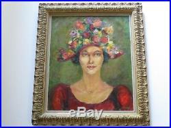 Vintage Painting Vintage Portrait Signed Pretty Woman Female Model W Flower Hat