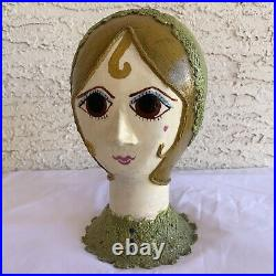 Vintage Paper Mache Folk Art Lady Woman Mannequin Hat Head North Carolina OOAK