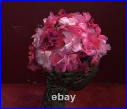 Vintage Pink Flower Hat Turban 1960S 1950S Bes Ben 40s