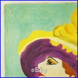 Vintage Portrait Painting Hat Fauvist Woman Impressionist Mid Century 16x20