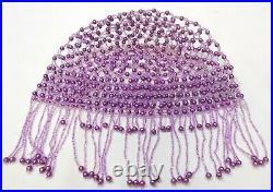 Vintage Purple & Lavender Seed Beads Fringed Skull Cap Cloche Hat Flapper Era