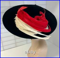 Vintage RARE! 1930s Wide Brim w Red & White Feathers & Hat Pin- BEST & CO