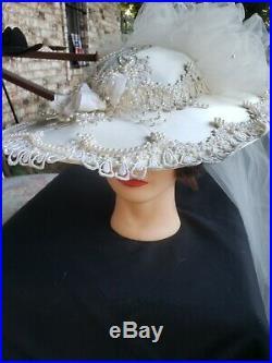 Vintage Radiance Womens Wedding Bride Hat With Veil Lace Trim