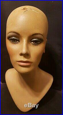 Vintage Realistic Woman Mannequin Bust Head Wig Hat Jewelry Store Stand Display