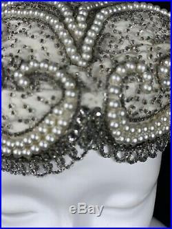 Vintage Rhinestone Bead Hat Pillbox Chapeaux Christine Original Pearls Silk 23