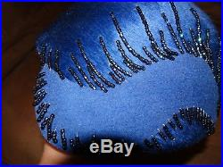 Vintage Royal Blue beaded Schiaparelli 1920's style Cloche hat in excellent
