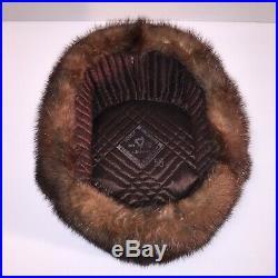 Vintage Russian Genuine Mink Fur Men/Women Winter Hat Ushanka from Cold Siberia