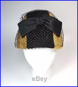 Vintage SCHIAPARELLI PARIS Fur Hat Ochre & Black Large Satin Bow Mesh Netting