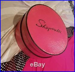 Vintage Schiaparelli Pink Hat Box With Schiaparelli Black Hat