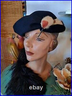 Vintage Schiaparelli Womans Aysemmetric Hat Blk Felt Faux Bird Harlequin Design