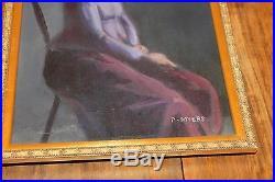 Vintage Signed Painting Woman Hat Philip Myers (b. 1921) Art Students League