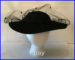 Vintage Sonni San Francisco Lancaster Womens Fascinator Black Veiled Wool Hat