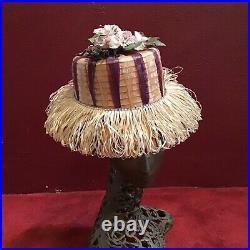 Vintage Straw Hat Italian Raffia Tarantula beach 6 7/8 Italy 50s 60s Novelty