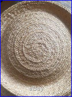 Vintage Straw Hat Large Brim Natural Colour French Net Pearl Hat Pin Excellent
