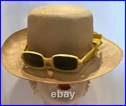 Vintage Straw Hat With Sunglasses Attached Summer Beach 60s Italy Sonny