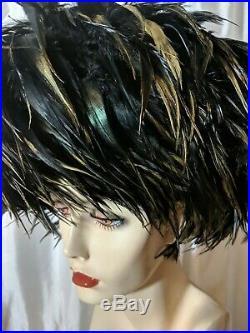 Vintage Stunning Hat Black Joe Bill Miller Large Exotic Ostrich Feathers 8 Ex