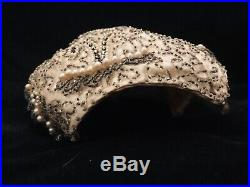 Vintage Stunning Schiaparelli Ivory Colored Beaded Hat WOW