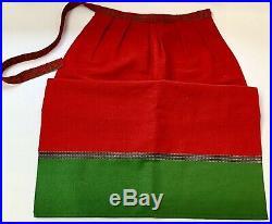 Vintage Sundborn Swedish Costume Womens Folk Dress Bunad Red Green Hat Apron S
