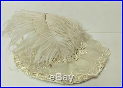 Vintage Victorian Style Hat Feathers Flowers Beads Roses Ribbon
