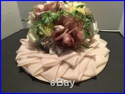 Vintage WILLIAM New York Hat Millinery UHCMW Taffeta Flowers Womens