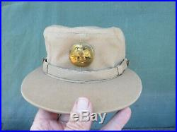 Vintage WWII Army WAC WAAC EM Tan Women's OD Cap Hobby Hat with Walking Eagle bdg
