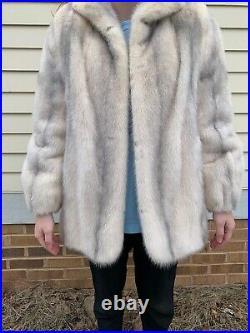 Vintage White Mink Coat Detachable Sleeves Wool Hat Scarf Medium Unique $2500