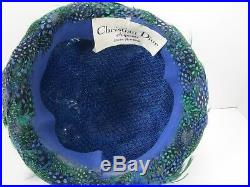 Vintage Woman's Christian Dior Chapeaux Paris-New York Feather Cloche Hat
