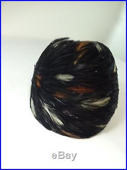 Vintage Womans Albrizio Feather Hat New York Flapper Style Incredible