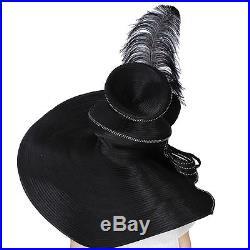 Vintage Women Derby Church Wide Brim Hat Party Fedora Wedding Dress Black Hats