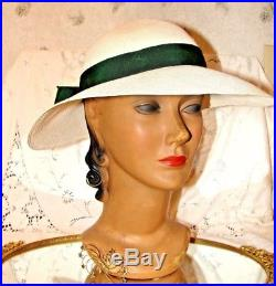 Vintage Women' Hat 1940's Genuine Panama Straw Hat With Green Ribbon