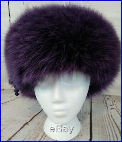 Vintage Womens Purple Fur and Leather Hat by Chapeau Creations Ruth Kropveld