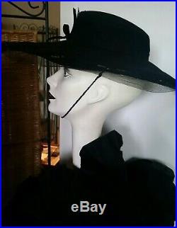 Vintage Womens STETSON Hat 50s Platter Cut Out Brim Blk Felt Rare! Chin Strap