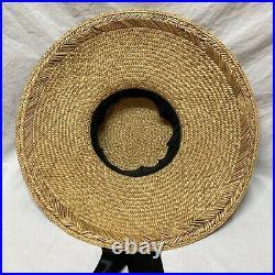 Vintage Womens Straw Hat Wide Brim Black Silk Ribbon Artificial Flowers Flat Top