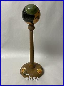 Vintage Wooden Hat Stand Lady Flapper Art Deco Painted Wood Antique