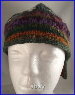 Vintage hand knitted wool cap hat Australian Wildflowers Galah Gum Trees Boho
