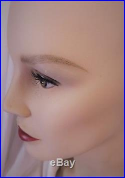 Vintage hand painted Woman Female BUST WIG HAT display MANNEQUIN 16 Jewelry