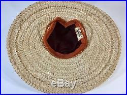 Vintage late 1940's to early 1950's orange velvet & straw saucer beach sun hat