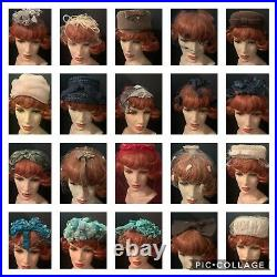 Vintage lot of 40 Designer & Novelty Rare Antique Ladies Womens Hats & Barrettes