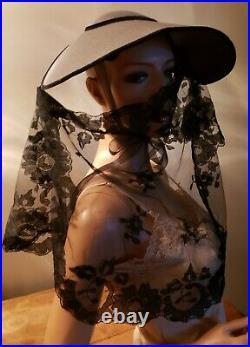 Vintage mourning widow funeral hat veil 1940's velvet black navy Wiccan goth os