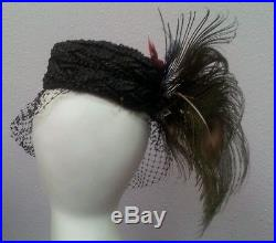 Vintage peacock feathered hat