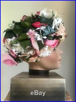 Vintage signed Christian Dior flower hat 1950's