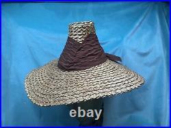 Vintage straw hat 1930s 1940s 40s Tilt Wide Brim Brown High Crown