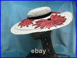 Vintage straw hat 1940s Wide Brim Raffia 50s Tilt Emme. French Shop 6 1/2 White