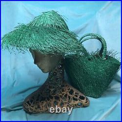 Vintage straw hat bag set 1950s 1940s 60s Raffia Purse Beach Pinup Saucer Tilt