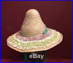 Vintage straw raffia hat beach 1940s 1950s tilt
