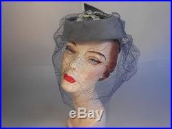 Vitnage 1940s WW2 Lavender Blue Felt Topper withLilac Lace Veil