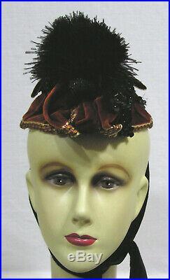 Vtg 1890s Bonnet Maison Nouvelle Paris Sequins Feather Puff Maroon Velvet NICE