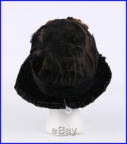 Vtg 1910 1920s HAUTE COUTURE Edwardian Silk Velvet Floral Flapper Cloche Hat