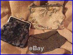 Vtg 25 Piece Mixed Ladies Lot Hats Purses Cuffs Velvet Straw Violets Feathers