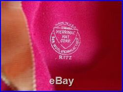 Vtg 40s Bright Red Felt Hat Upturned Brim Halo Breton Original 40s Hat